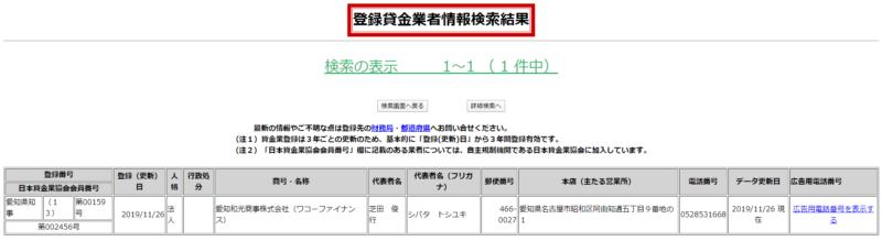 愛知和光商事貸金業登録番号の更新履歴