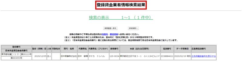 田中商事貸金業登録番号の更新履歴
